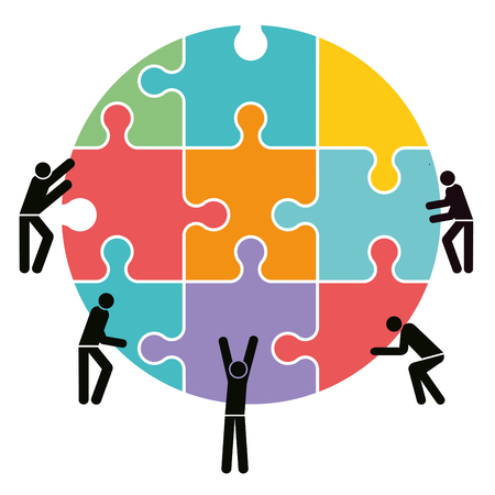 Team cooperation and connection, illustration.