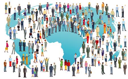 Światowa populacja międzynarodowa w kolorowej ilustracji