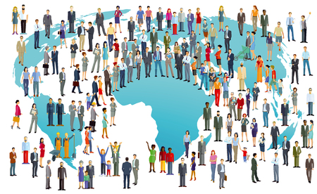 World Population International In colorful illustration Stock Illustratie
