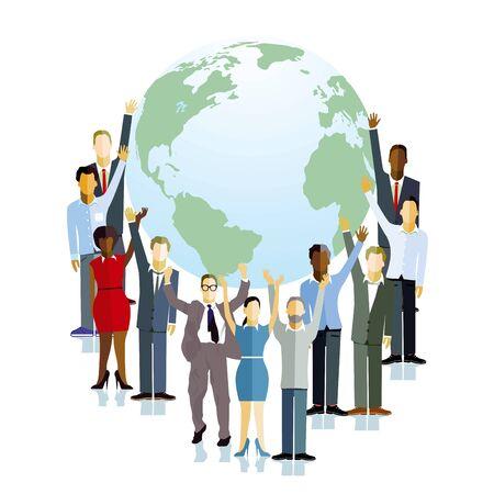 People hold the globe, illustration