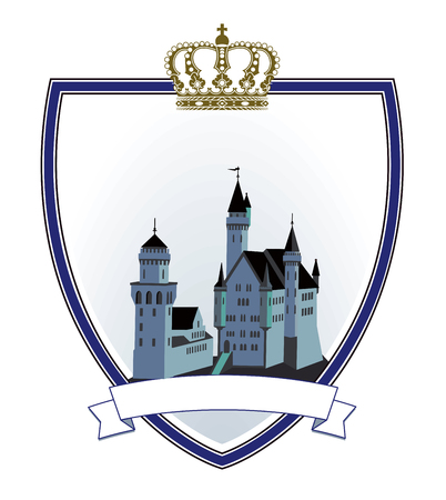 A Castle emblem in shield with crown Illustration