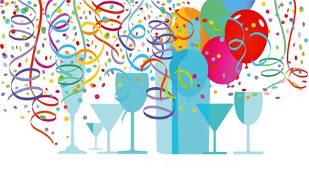 Scene with drinks balloons and streamers Stock Vector - 93625158