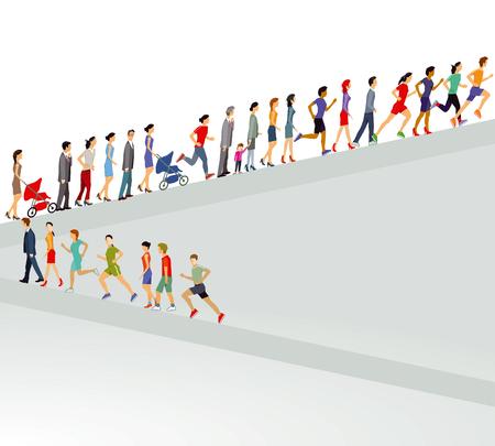 Large group goes up illustration 向量圖像