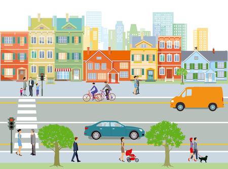 Stad met verkeer en voetgangers, illustratie