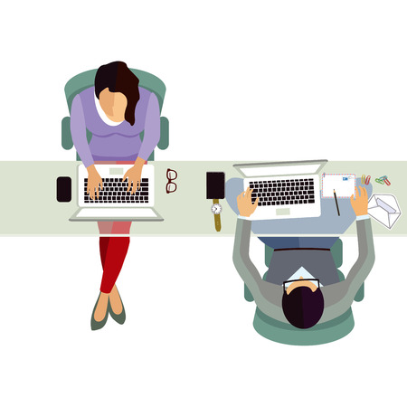 Employee at the office work vector illustration.