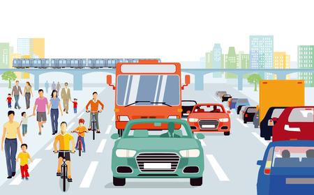 Stadt mit Fußgängern, Radfahrern im Verkehr