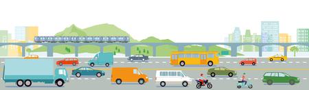 Autostrada con l'illustrazione della grande città