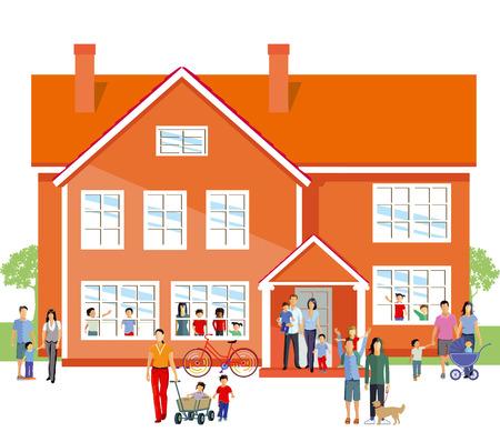 Kindergarten with parents and family Illusztráció