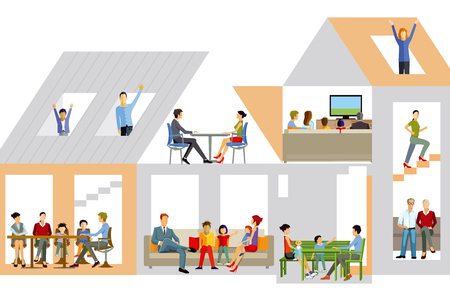 Family life in the house, vector illustration.
