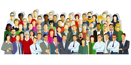 Large group of people introduce themselves, illustration.