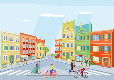 small city with pedestrians and cycling, illustration Illustration