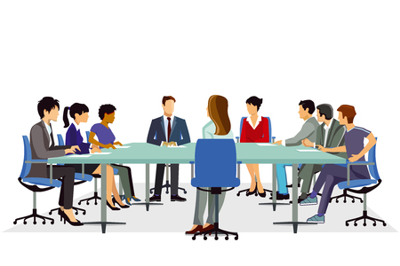 Meeting or conference, discussion, seminar illustration. Иллюстрация