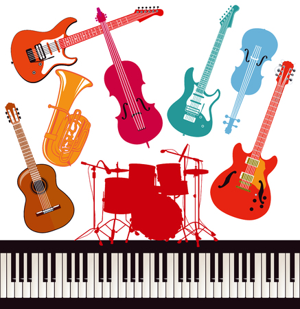 Colorful musical instruments illustration. Illustration