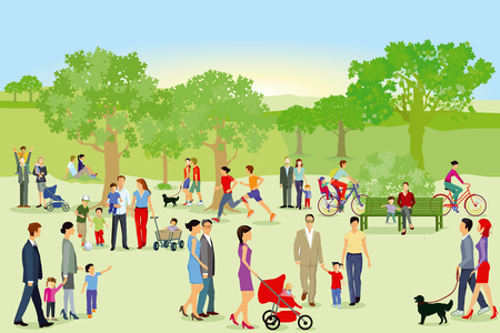 Walkers and families have fun in the park Illustration