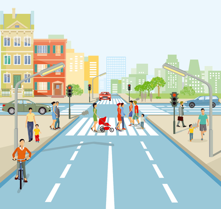 Road junction with people and cars. Illustration