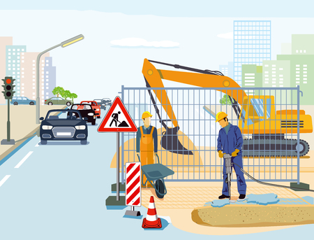 Repair in road construction illustration