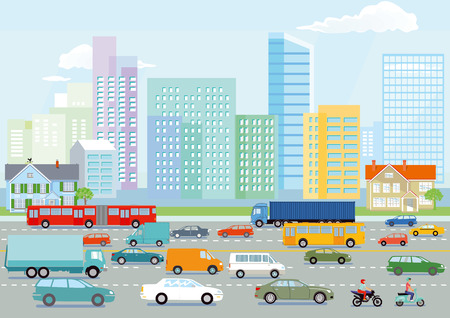 Highway in the big city illustration