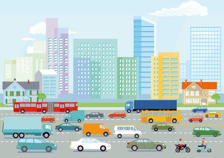 Autostrada na ilustracji wielkiego miasta