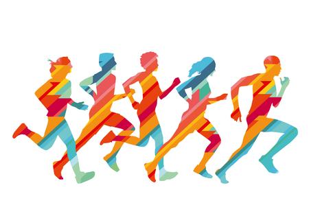 Grupo de corredores coloridos, ilustración