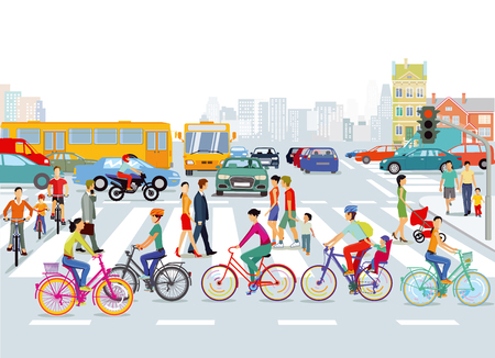 City with road traffic, cyclists and pedestrians, illustration Illustration