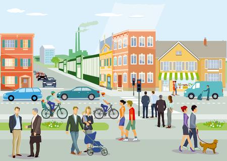 City with road traffic, cyclists and pedestrians, illustration Ilustração