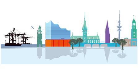 Paisaje urbano de Hamburgo con puerto Ilustración de vector