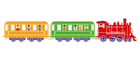 Toy train with children illustration.