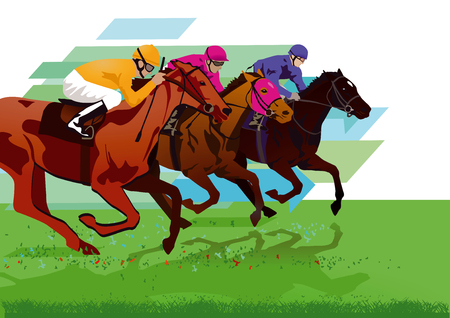 Jockeys with race horses on the racetrack 向量圖像