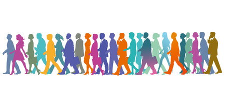 Group of people in the row, crowd Illustration