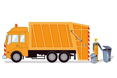 Waste disposal, Waste disposal vehicle Vector illustration.