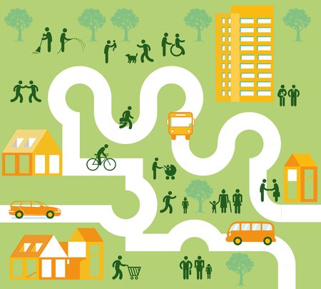 Community of people in the city concept Vector illustration.