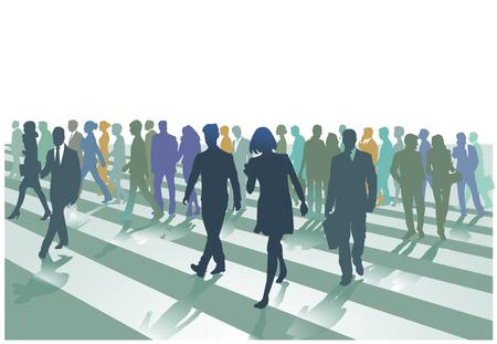 Pedestrian crossing in the city, illustration. Illustration