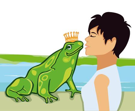 Kiss the Frog Prince illustration Иллюстрация