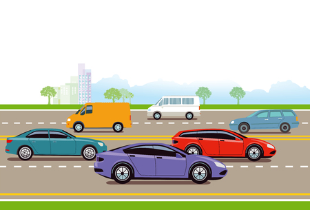 Expressway in the big city illustration.