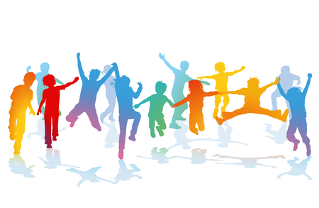 Group of happy kids in coloful silhouette Illustration