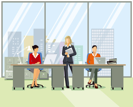Office workplace, people at work, illustration Illustration