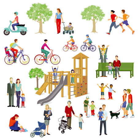 Families and people play in the park, illustration.