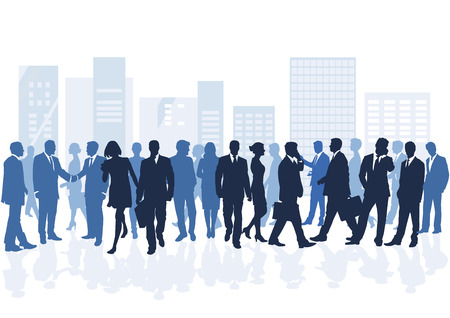 Group of people in the city. Illustration
