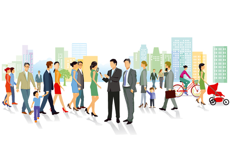 Crowd and inhabitants in the city illustration.