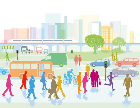 Big city concept with people, vehicles, trees and buildings. Vector illustration. Illustration