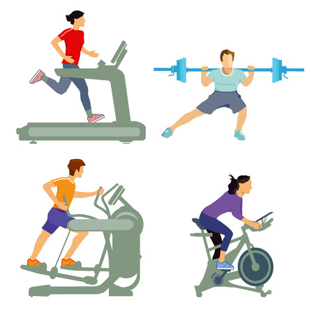Gym with fitness equipment Vector illustration.