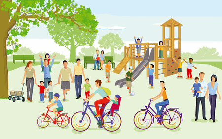 Families with children in the playground, Vector illustration.