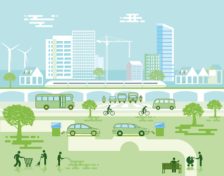Ecological city with electric vehicles Ilustrace