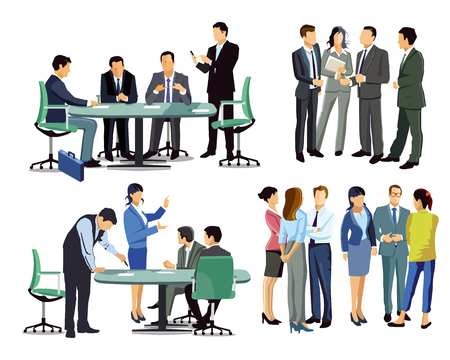 Business meeting among business people Illustration