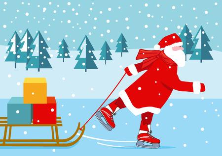 Santa Claus skating, illustration Ilustração