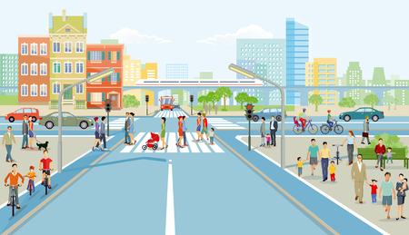 Road junction with pedestrian and car traffic, illustration