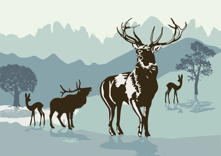 Deers in the mountains Ilustrace