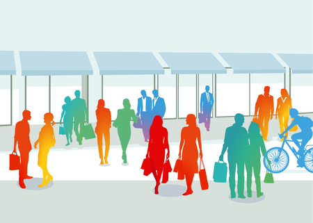 Groups of people shopping. Vector illustration. Illustration