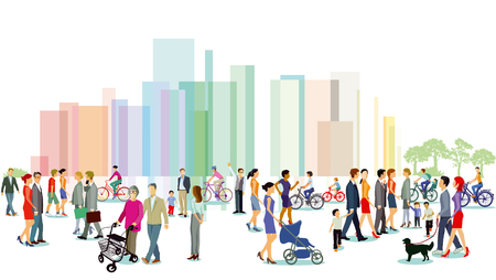 City with groups of people. Vector illustration.