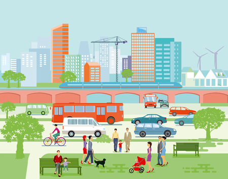 Large city panorama with road traffic and pedestrians. Vector illustration. Illustration